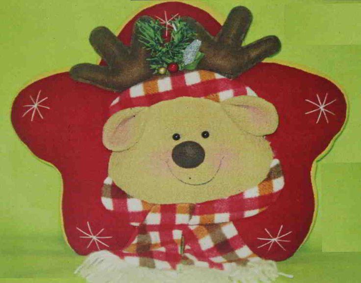 Molde de Cojin reno Navideo Estrella  Navidad con moldes