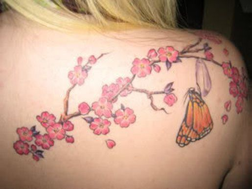 I kinda want this!   Cherry Blossoms with Butterfly Tattoo on Back Shoulder