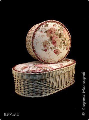 Поделка изделие Плетение Большущая шкатулка для ниток Трубочки бумажные фото 5