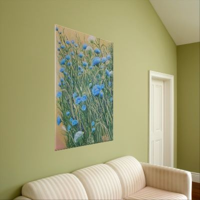 wrapped canvas print of original painting by Janet Summers  Wild Chicory and Weeds 24x36in. oil