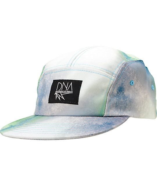 Make waves in the style game with the addition of the DNA Waves green 5 panel hat to your wardrobe. This 5 panel hat features an all-over green, blue, and white waves print, adjustable black plastic clip closure at the back for a custom fit, custom DNA lo