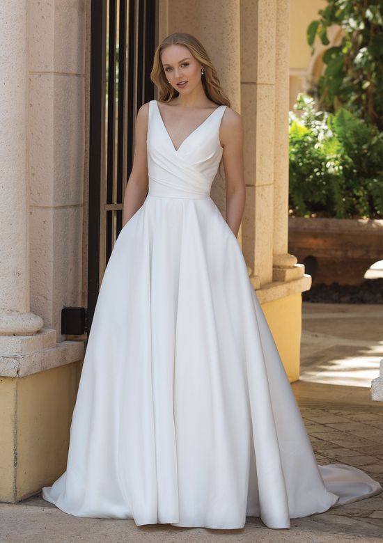 f6d7edab6ad Sincerity Bridal - Style 44080: Asymmetric Draped Ball Gown with Pockets -  Classic ball gown wedding dress - elegant, romantic and so classic!