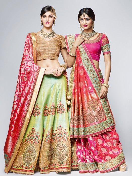 Shop Green Raw Silk Lehenga Pink Dupatta By G3+ Video Shopping