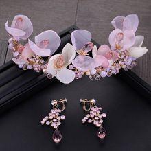 Dote me Rosa Flor de Cristal Nupcial Da Tiara Com Brincos de Contas Mulheres Jóias Hairband Do Cabelo Do Casamento Acessórios alishoppbrasil