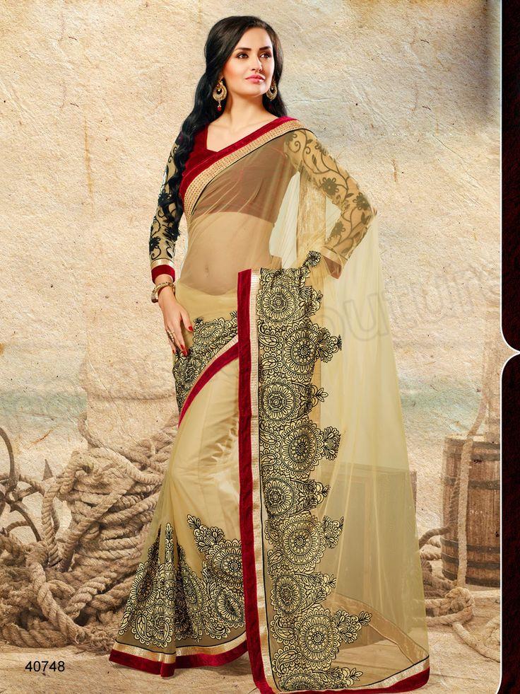#Designer Sarees# Cream #Indian Wear #Desi Fashion#Natasha Couture#Indian Ethnic Wear