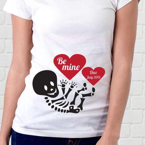 Valentines Day Pregnancy Shirt Skeleton Be Mine By Orange Elephant Designs