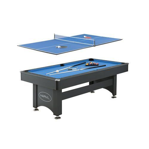 Harvil 7 Foot Pool Table with Table Tennis Top by Harvil. $599.49. The versatile Harvil 7 Foot Pool Table with Table Tennis Top includes everything you need to play pool or table tennis! The thick non-slate billiard table features red felt and black plastic drop pockets while the blue, two-piece ping pong top includes black edge trimming. This game table features a durable, contemporary design including silver laminate top rails, white inlay sights and chrome-plated corner ca...