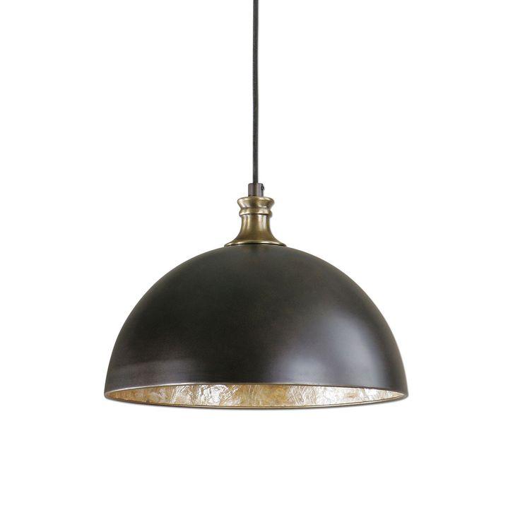 Placuna Bronze With Antique Brass One Light Pendant Uttermost Dome Pendant Lighting Ceilin