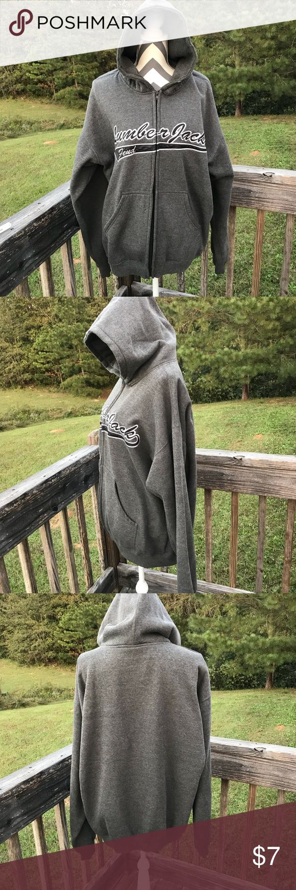 TIPSY hoodie Tipsy Lumberjack Feud Hoodie.  Size Large. Gray and black.  Missing string for hoodie and has a small hole as seen in picture.   Also shows a little bit of pilling.  Approx measurements pit to pit 26, length 27.5.  Loc A140. Tipsy Jackets & Coats