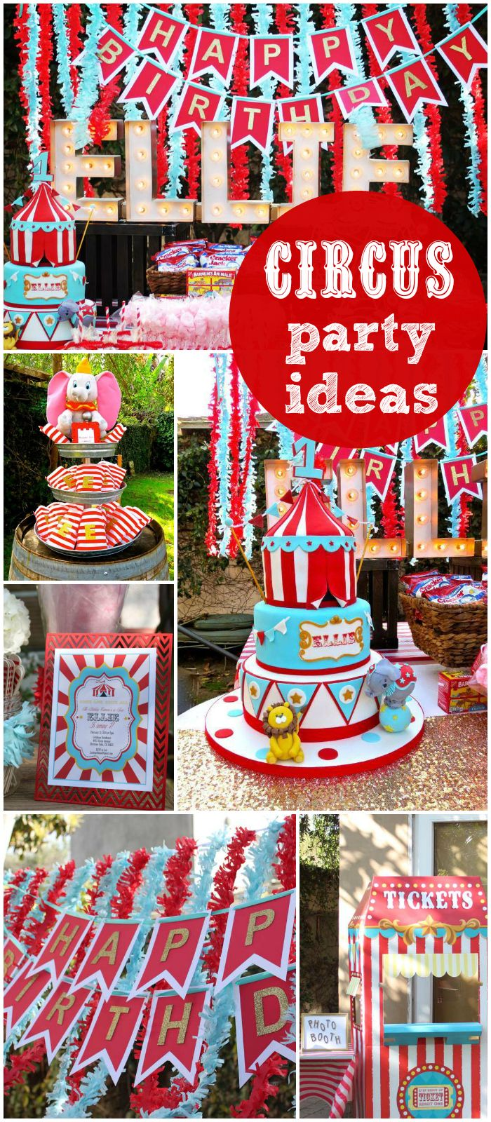 What a fun carnival party for a first birthday! Love the decorations! See more party ideas at CatchMyParty.com!