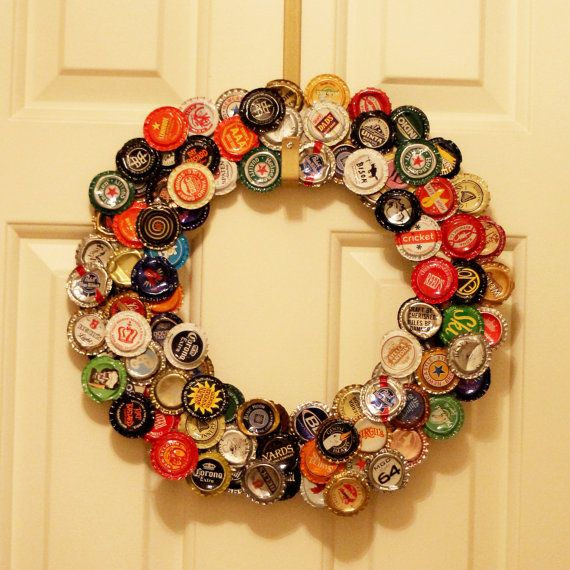 Top 25 ideas about bottlecap wreath on pinterest plastic for What to make with beer bottle caps