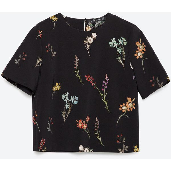 Zara Printed Top (£12) ❤ liked on Polyvore featuring tops, shirts, blouses, crop top, black, zara shirts, crop shirt, cropped tops, zara tops and cut-out crop tops