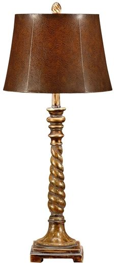 Lamp WILDWOOD LAMPS 1-Light Brown Shade Leatherette Leather New Hand-Fini WL-872