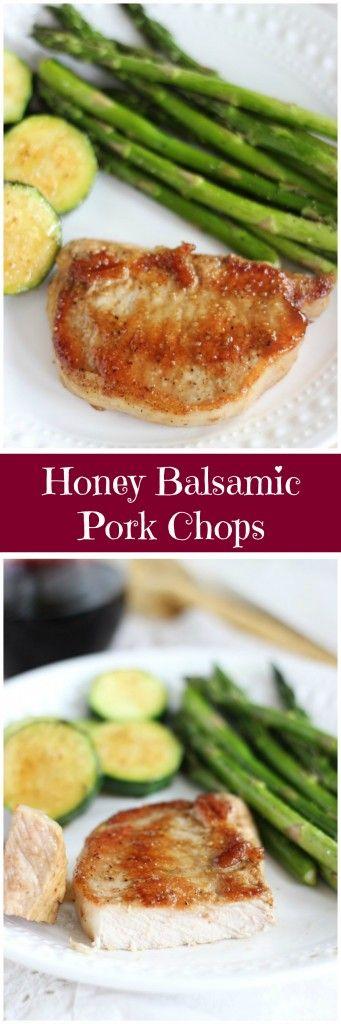 Baked pork chops with a dijon mustard, honey, and balsamic vinegar glaze! Dinner in under 30 minutes! #AllNaturalPork #ad