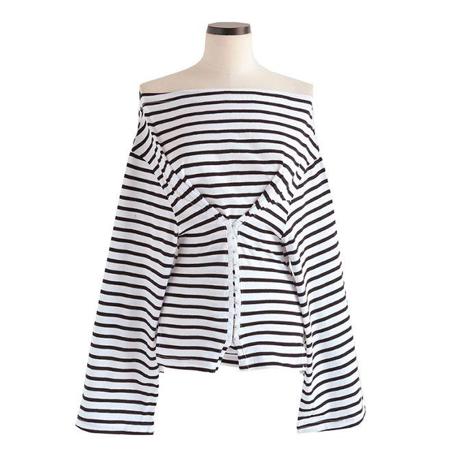 オフショルダーボーダーTシャツ   レディース・ガールズファッション通販サイト - STYLENANDA