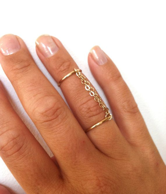 Handcuff Ring- Double Chain Ring- Pink Gold, Yellow Gold, or Sterling Silver Knuckle Ring