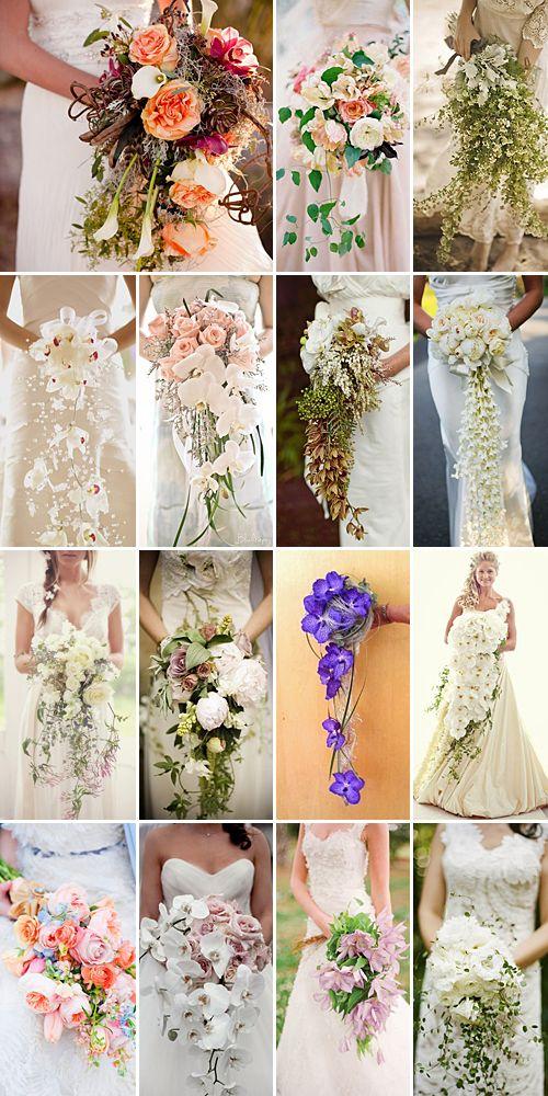 Cascading wedding bouquets. Pretty. :)