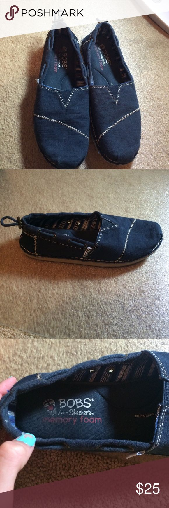 Navy blue Bobs. Worn 2 times!! Memory foam Bobs. Worn 2 times. I am willing to negotiate price. Bobs Shoes Flats & Loafers