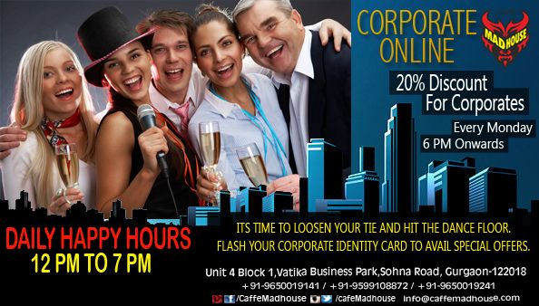 Beat the Monday blues with Corporate online at Caffe Mad House, show your corporate Id and avail 20% discount. #MondayCorporate #CorporateOnline #Weekday