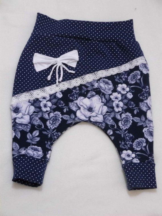 Girl Pumphose, Baby trousers, floral motif, size 62-67