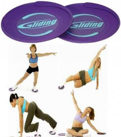 Gliding disks! These things are both awesome and evil, and so very versatile - use them to spice up your favourite exercises and add some new ones :) (you can also use paper plates in the same way!) #gliders #toys www.glidingdiscs.com