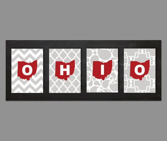 Ohio State Set Of Four 5x7 Prints By EGallaDesign On Etsy, $18.00