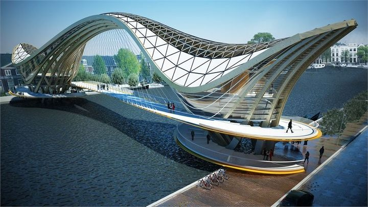 """Amstel Footbridge"": This proposal aims to reintroduce Amsterdam to wooden structures -- outlawed by the city in 1669 after devastating fires in 1421 and 1452. If completed, the pedestrian bridge would also house a cafe, bike storage, and residences. 