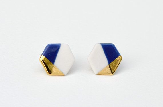 hexagon porcelain earrings in white and blue, gold dipped @Corinne Abramowitz Abramowitz Abramowitz Abramowitz // Pink Avenue Blog