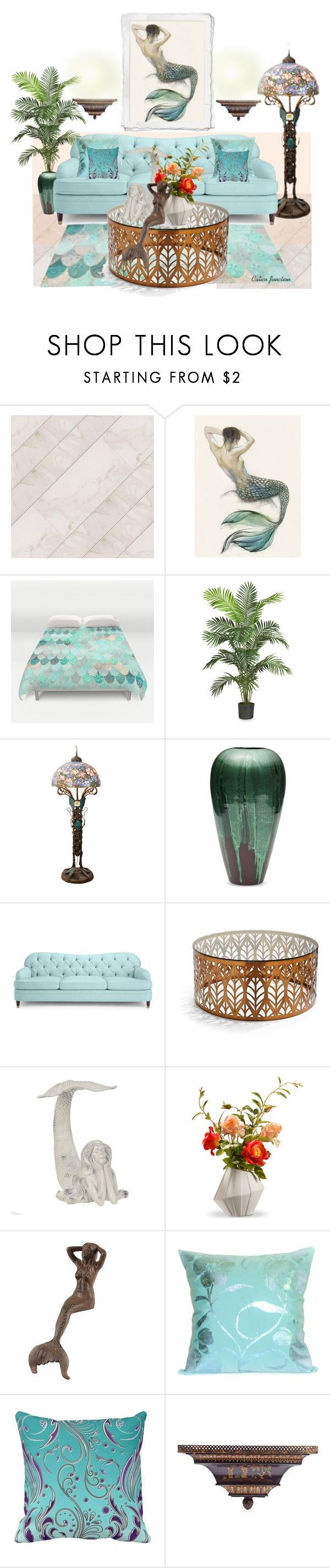 """""""Mermaid"""" by calicojunction on Polyvore featuring interior, interiors, interior design, home, home decor, interior decorating, Bombay, Kate Spade, Frontgate and National Tree Company"""