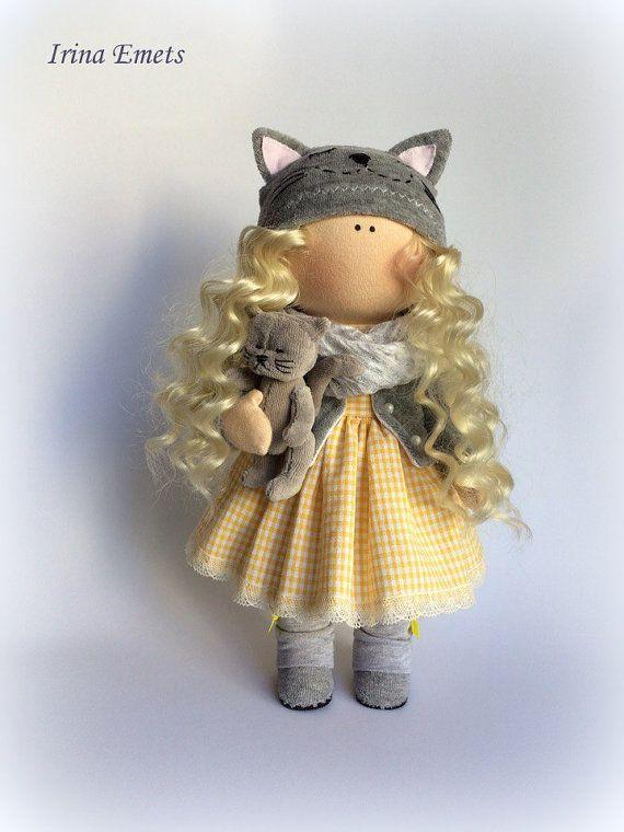 CAT doll textil muñeca Catty muñeca hecha a por AnnKirillartPlace