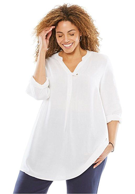 3493d2ed6055d5 Women's Plus Size Tab-Front Long Sleeve Shirt White,M | Women's ...