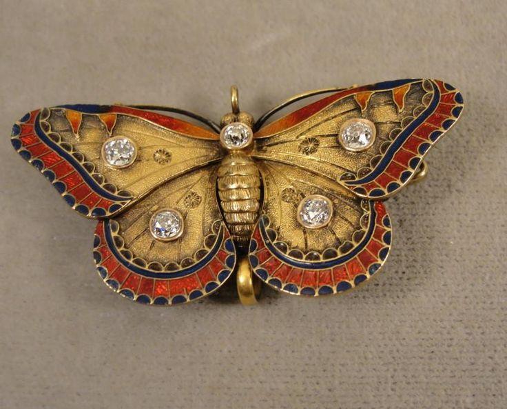14K Victorian Enamel Diamond Butterfly Watch-Fob Pin