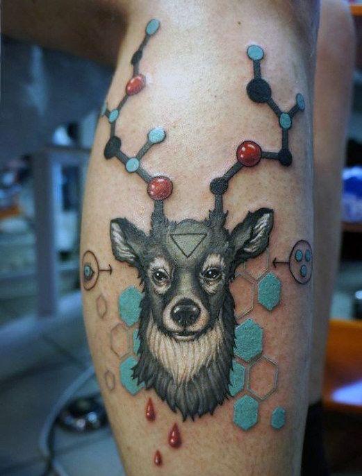 Deer Chemistry Abstract Male Leg Tattoos