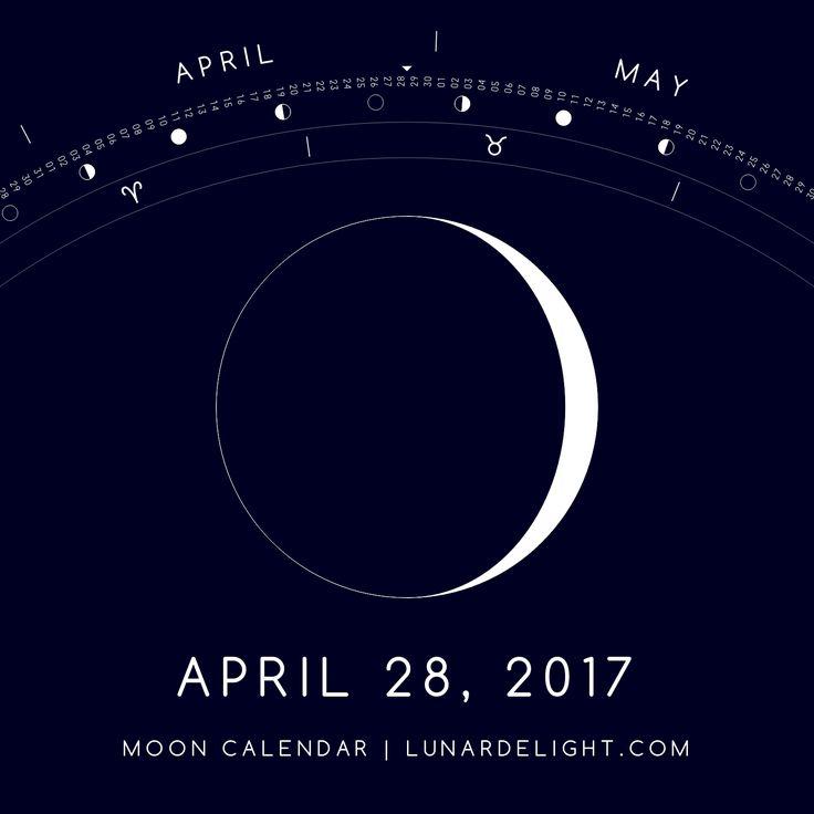 Friday, April 28 @ 21:35 GMT  Waxing Crescent - Illumination: 8%  Next Full Moon: Wednesday, May 10 @ 21:43 GMT Next New Moon: Thursday, May 25 @ 19:46 GMT