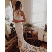 Sexy Long Halter Backless Lace Mermaid Wedding Dresses