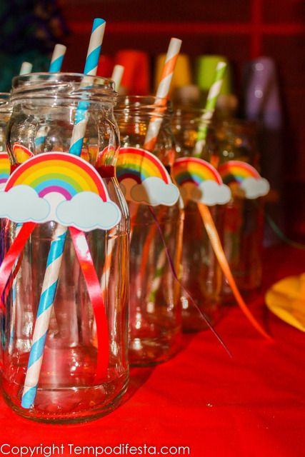 Decorated drinks at a Rainbow Birthday Party!  See more party ideas at CatchMyParty.com!