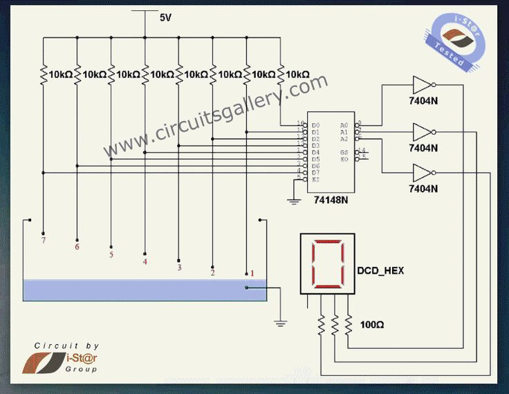 Numeric water level indicator- liquid level sensor circuit diagram with 7 segment display - Engineering project Gallery of Electronic Circuits and projects, providing lot of DIY circuit diagrams, Robotics & Microcontroller Projects, Electronic development tools