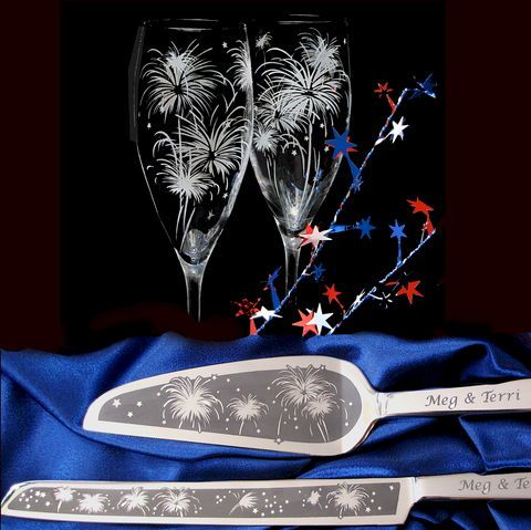 New Year's Eve Wedding, Personalized Cake Server and Champagne Flute Set, Fireworks Wedding