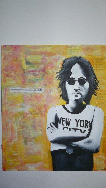 """Working Class Hero"" by Linnea Englander, 2008, acrylic & collage on canvas"