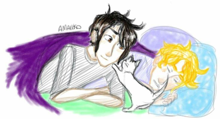 Solangelo with a Kitty (and hc that Will snores)