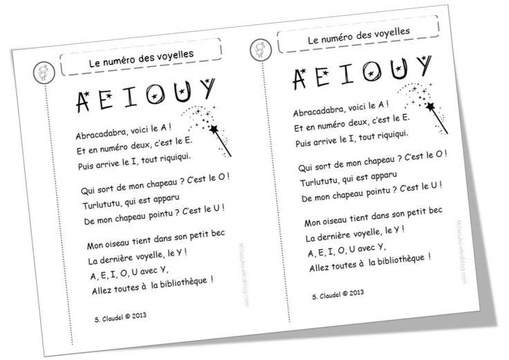 Création d'un poème pour que les élèves connaissent les voyelles.