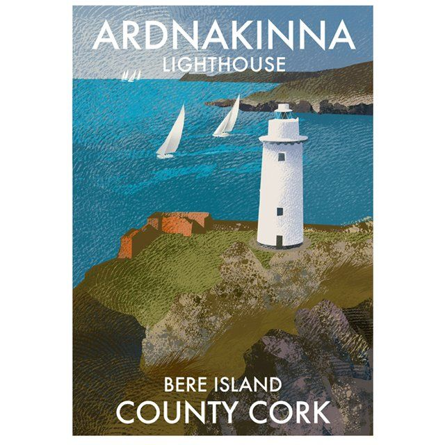 A4 (297 x 210mm) Poster of Ardnakinna Lighthouse on Bere Island Head In west Cork. Printed 250g/m² art print paper Artist: Roger O'Reilly