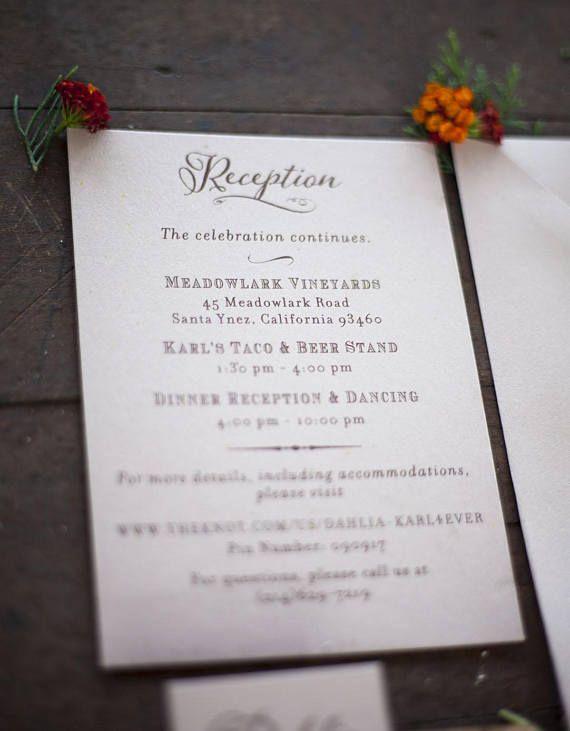 Beautiful reception card printed on nude metallic paper!