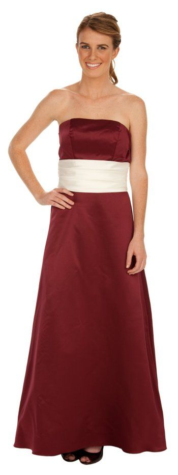 Burgundy Formal Dress Plus Size Strapless Ivory Wrap Bridesmaid Gown