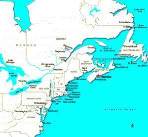 Map of Halifax, Nova Scotia - cruise in Sept 2013