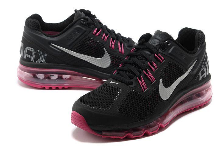 Nike Air Max 2013 Womens Black Dark Grey Fusion Pink Metallic Silver 555753 001: Black