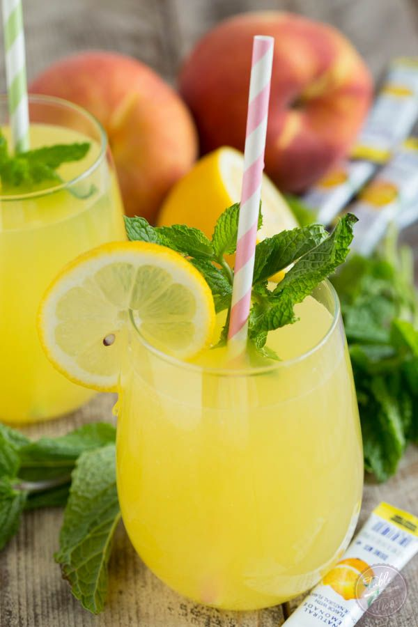 Sparkling Mint Peach Lemonade is refreshing, sweet, and full of bubbles! You'll want a large pitcher of this!