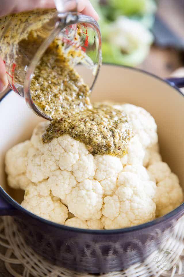 Ofen gebackener ganzer gebratener Blumenkohl   – Food