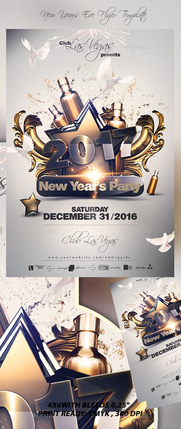 NYE Party Flyer Template PSD. Download here: https://graphicriver.net/item/nye-party-flyer-template-v3/17421415?ref=ksioks