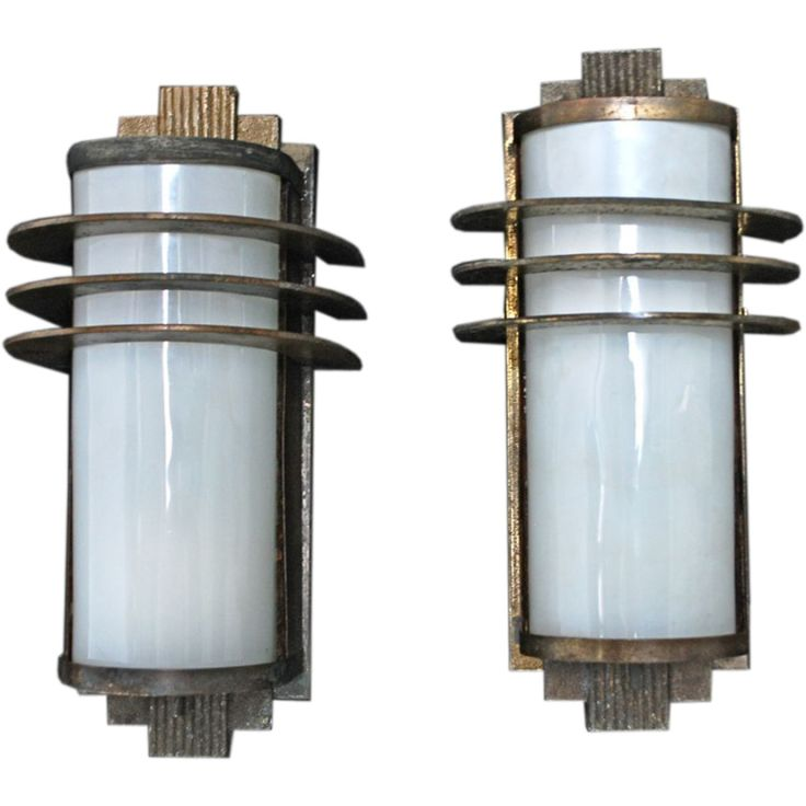 Antique Pair of Art Deco Sconces Indoor/Outdoor USA 1920, Indoor/Outdoor | From a unique collection of antique and modern wall lights and sconces at http://www.1stdibs.com/furniture/lighting/sconces-wall-lights/